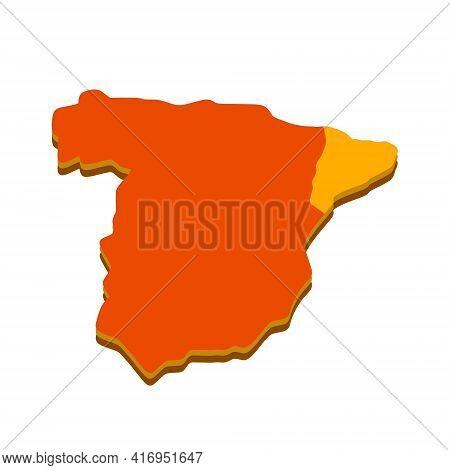 Catalonia On Map Of Spain. Territorial Structure Of The European State. Red-orange Area. Autonomous