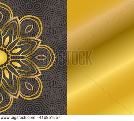 Cute Gold Mandala Card With Striped Seamless Pattern. Ornamental Round Doodle Flower Isolated On Whi
