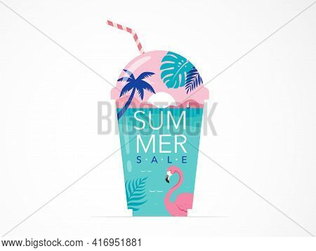 Summer Time Fun Concept Design. Creative Background Of Landscape, Panorama Of Sea And Beach On Glass