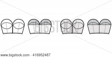 Denim Bustier Top Technical Fashion Illustration With Zip-up Closure, Cups Strapless , Slim Fit, Cro