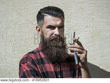Young Man Hipster Hairdresser. Barber Scissors And Straight Razor, Barber Shop, Suit. Vintage Barber