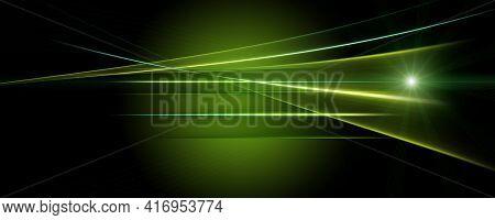 Futuristic Eco Stripe Panorama Background Design With Lights