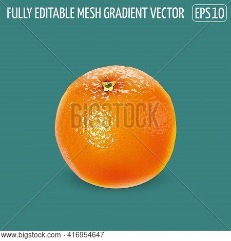 Fresh Unpeeled Orange On A Green Background.