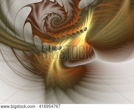 Fractal Spirals And Holes Twist And Float In Space. Abstract Fractal 3d Artwork. Repeating Spiral Pa