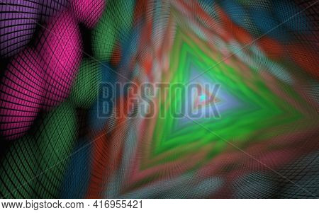 Trihedral Tunnel, Geometric Abstract Background Of Elements With Spectral Radiance, Long Tunnel. Abs