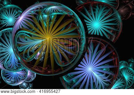 Digital Computer Fractal Art. Abstract Fractals Delicate Light Glass Bubbles. Colors Bubbles Fractal