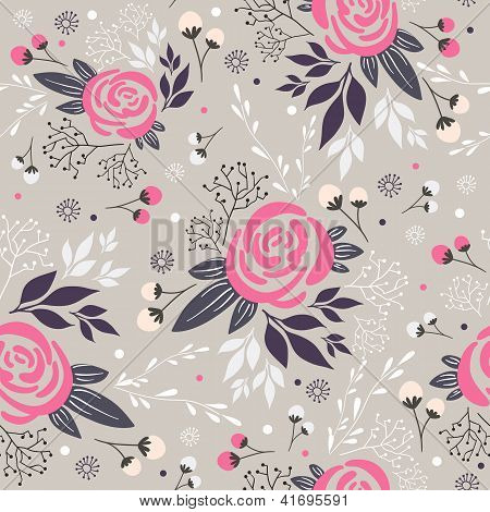 Seamless floral pattern. Background with flowers leafs and berries. poster