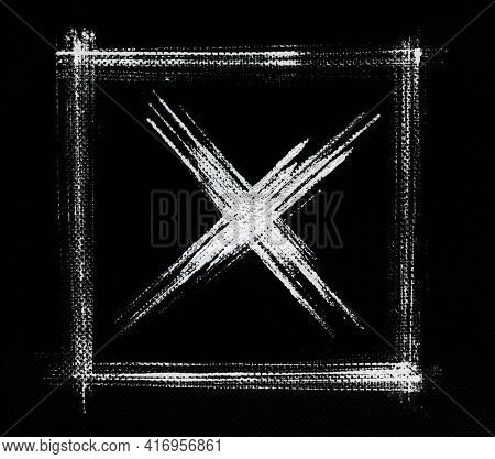 Rejection symbol - White square frame and cross on black background, Hand-drawn strokes on napkin tissue texture