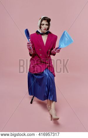 A Disgruntled Woman Does Not Want To Do The Cleaning. Pin-up Style.