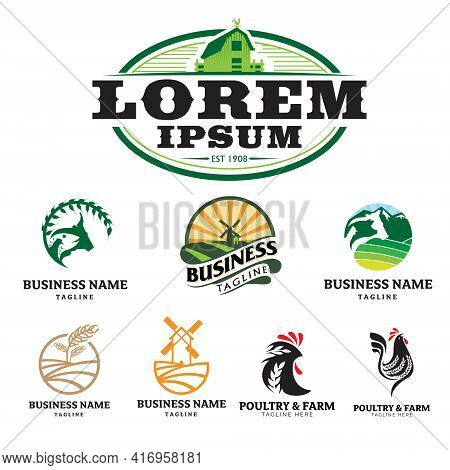Farm And Poultry Theme Logo Set. Vector Illustrations
