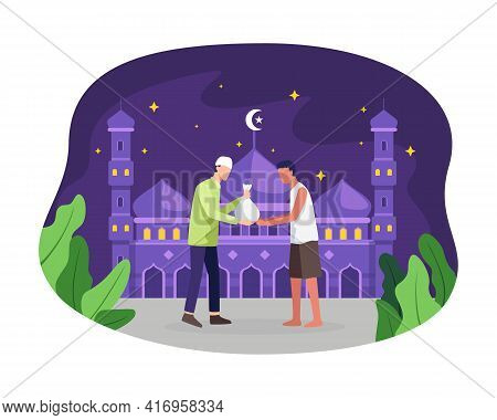 Muslim Man Giving Donation