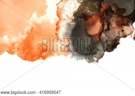 Art Abstract  watercolor and acrylic marble flow blot painting. Smoke Color canvas marble texture background. Alcohol ink.