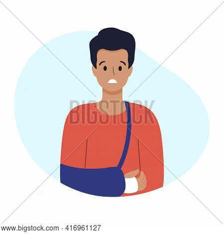 A Man With A Broken Arm. A Bandage On The Arm. The Man Put A Cast On His Arm. Vector Illustration On