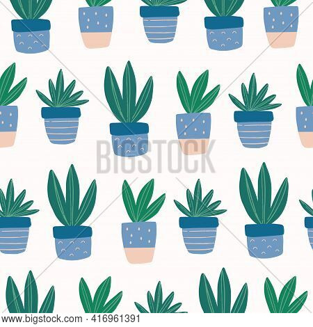 Seamless Pattern With Hand-drawn Cute Succulent In Colorful Pot. Trendy Colors House Plant Vector Il