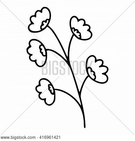 A Sprig Of Wildflowers In The Doodle Style. Spring Illustration By Hand. Vector Element For The Desi