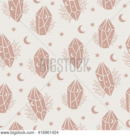 Magic And Celestial Seamless Pattern With Magical Crystal. Trendy Witchcraft Symbol On Beige Backgro