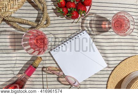 Sunny Summer Picnic With Champagne And Strawberries. Womens Accessories On A Striped Towel. Blank No