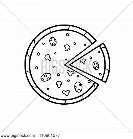 Round Pizza And A Slice Of Pizza In The Style Of Doodle. Vector Illustration With A Black Freehand L