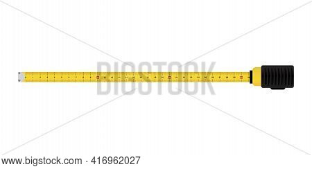 Realistic Illustration With Tape Measure Yellow. Stock Image. Vector Illustration. Eps 10.