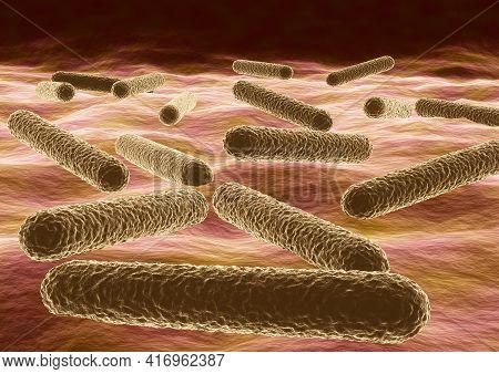 Microscopic View Of Bacteria Mycobacterium Tuberculosis Causative Agent Of Tuberculosis. 3d Illustra