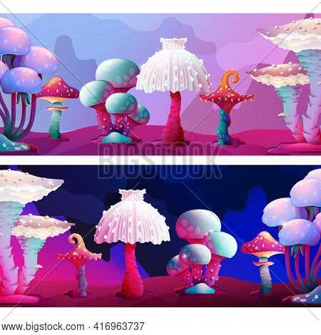 Cute Colorful Fantasy Magic Mushrooms Border Landscape Set. Fungus And Unrealistic Uneartly Alien Bo