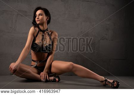 Dreamy Young Woman In Sexy Underwear And High Heels