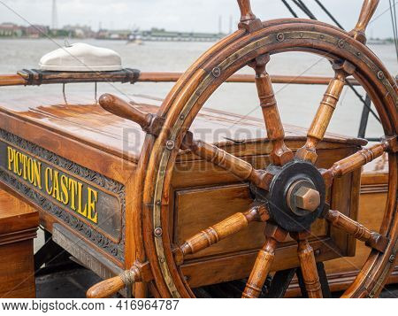 New Orleans, La - April 21: Steering Wheel On Tall Ship Picton Castle, Docked In Mississippi River F