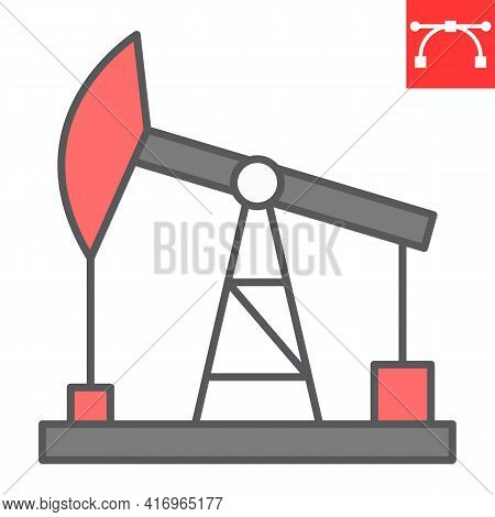 Oil Pump Color Line Icon, Industry And Pump Jack, Oil Rig Vector Icon, Vector Graphics, Editable Str