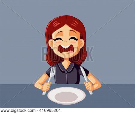Upset Hungry Girl Waiting For Dinner In A Restaurant