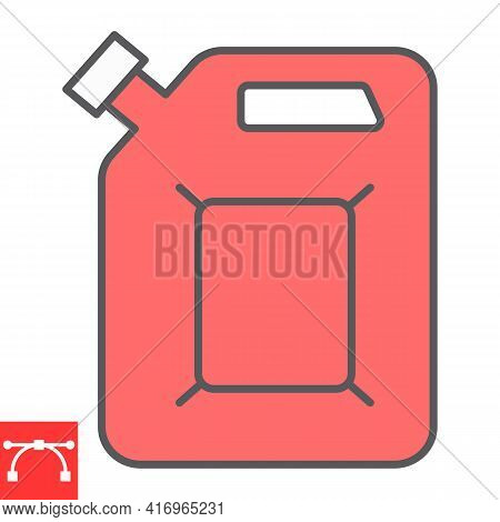 Jerrycan Color Line Icon, Fuel Gallon And Gas Can, Gasoline Canister Vector Icon, Vector Graphics, E