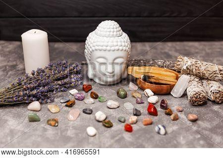 Mineral Collection. Set Of Colorfull Abstract Semi-precious Stones. Spiritual Ritual Meditation Face