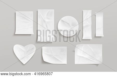White Glued Stickers Or Crumpled Paper Patches Mockup. Blank Shrunken Labels Of Different Shapes Rou