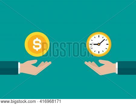 Businessman Hands With Golden Clock And Money. Vector Flat Illustration On Blue. Fast Success, Save