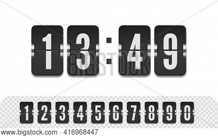Vector Modern Ui Design Of Old Time Meter With Numbers. Scoreboard Number Font. Retro Design Score B