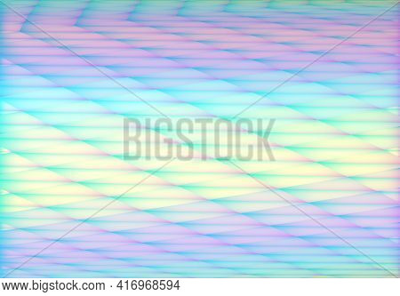 Stylish Hologram Background In Vaporwave 90s Style With Abstract Geometric Cells And Iridescent Colo