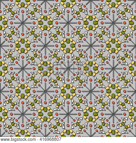 Seamless Geometric Pattern. Colored Volumetric Mosaic Of Rounded Fragments In Yellow And Green Tones