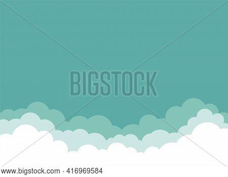 Clouds Background. Vector Horizontal Illustration. Billboard, Poster, Banner. Bright Sky Wallpaper.