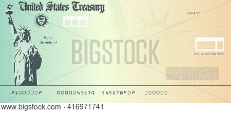 Blank Stimulus Check Template. Fake Money Bank Cheque Mockup.