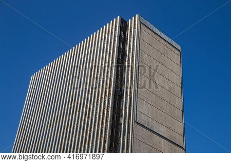 Looking Up At Top Of Tall Residential Building