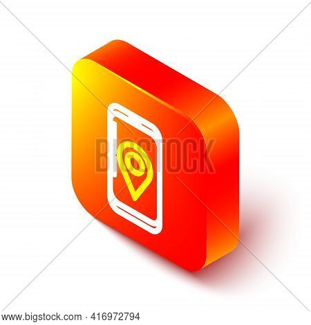 Isometric Line Mobile Smart Phone With App Delivery Tracking Icon Isolated On White Background. Parc