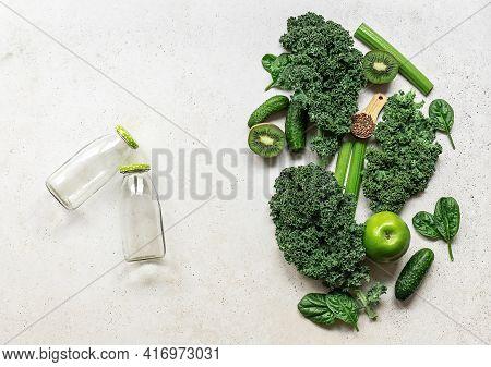 Ingredients For A Healthy Green Smoothie Or Salad - Superfoods, Detox, Alkaline Diet, Health, Vegeta