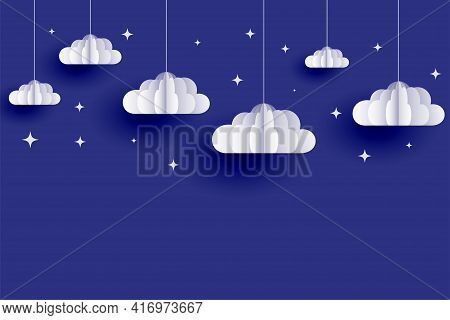 Clouds And Stars Background In Papercut Style