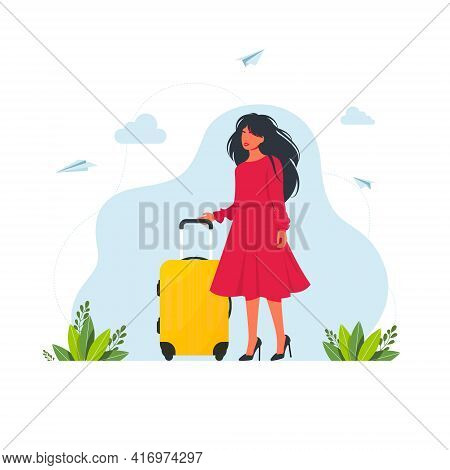 Woman Travels With A Suitcase. Woman With A Luggage Bag. Vector Illustration. Woman With A Suitcase