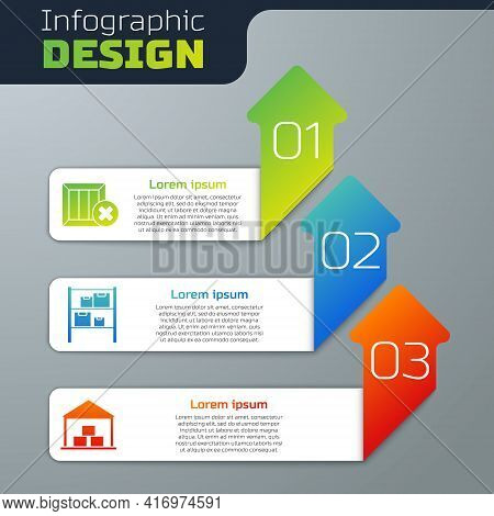 Set Wooden Box And Delete, Warehouse And Warehouse. Business Infographic Template. Vector