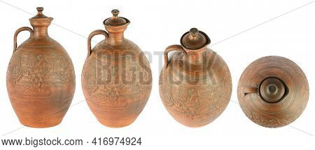 Large earthenware jug with a lid from different angles isolated on white background.