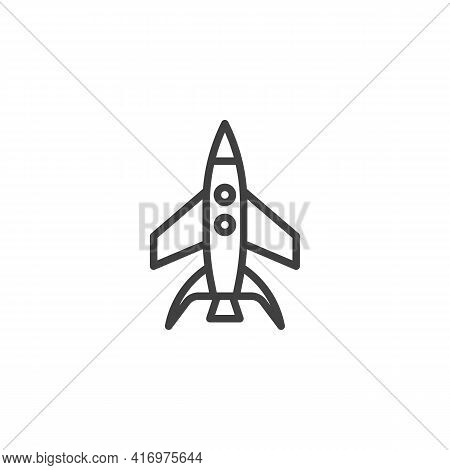 Spaceship Launch Line Icon. Linear Style Sign For Mobile Concept And Web Design. Space Shuttle Outli