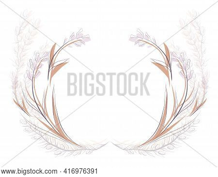 Round Delicate Floral Frame With A Steppe Flower And Plants. Vector Sketch Wreath For Logos, Icons A