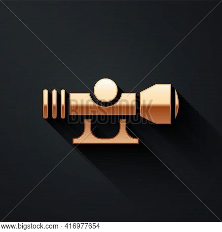 Gold Sniper Optical Sight Icon Isolated On Black Background. Sniper Scope Crosshairs. Long Shadow St