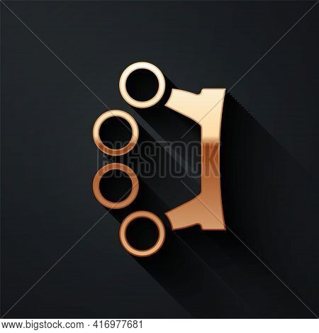 Gold Brass Knuckles Icon Isolated On Black Background. Long Shadow Style. Vector