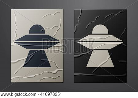 White Ufo Flying Spaceship Icon Isolated On Crumpled Paper Background. Flying Saucer. Alien Space Sh